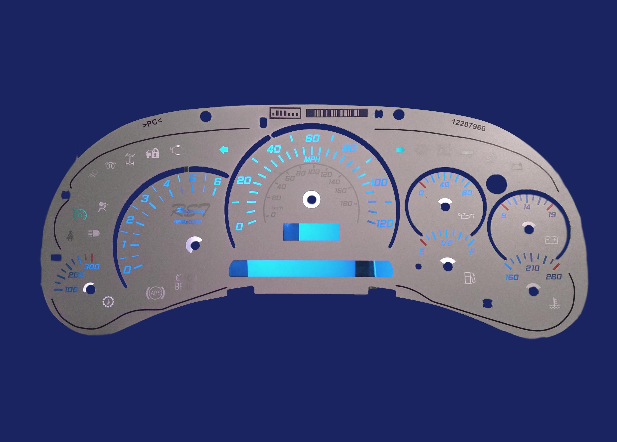 03-06 GM Instrument Cluster Faceplate Overlay - White with clear scales  Style C